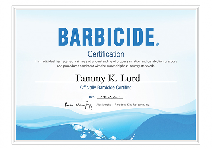 Certified by Barbicide